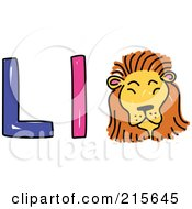 Royalty Free RF Clipart Illustration Of A Childs Sketch Of A Capital And Lowercase Letter L With A Lion