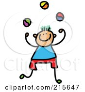 Royalty Free RF Clipart Illustration Of A Childs Sketch Of A Juggling Boy