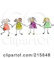 Royalty Free RF Clipart Illustration Of A Childs Sketch Of Four Girls Holding Hands by Prawny #COLLC215648-0089