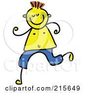 Childs Sketch Of A Running Boy With Jaundice