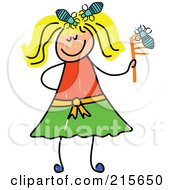 Royalty Free RF Clipart Illustration Of A Childs Sketch Of A Blond Girl With Head Lice
