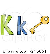 Royalty Free RF Clipart Illustration Of A Childs Sketch Of A Capital And Lowercase Letter K With A Key
