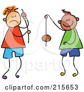 Royalty Free RF Clipart Illustration Of A Childs Sketch Of Boys Playing Conkers