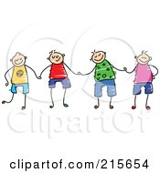 Royalty Free RF Clipart Illustration Of A Childs Sketch Of A Group Of Happy Boys Holding Hands
