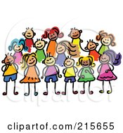 Royalty Free RF Clipart Illustration Of A Childs Sketch Of A Posing Group Of Kids