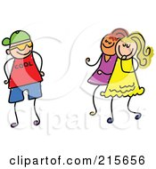 Royalty Free RF Clipart Illustration Of A Childs Sketch Of A Boy Trying To Impress Girls