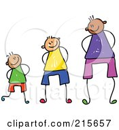 Royalty Free RF Clipart Illustration Of A Childs Sketch Of Three Boys At Different Heights
