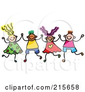 Royalty Free RF Clipart Illustration Of A Childs Sketch Of Boys And Girls Holding Hands 3