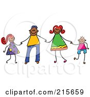 Royalty Free RF Clipart Illustration Of A Childs Sketch Of A Happy Black Family Holding Hands by Prawny
