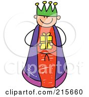 Royalty Free RF Clipart Illustration Of A Childs Sketch Of A Boy King Holding A Gift by Prawny
