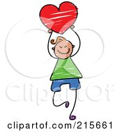 Royalty Free RF Clipart Illustration Of A Childs Sketch Of A Boy Holding A Red Heart