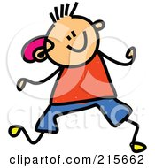 Royalty Free RF Clipart Illustration Of A Childs Sketch Of A Boy With A Hearing Aid