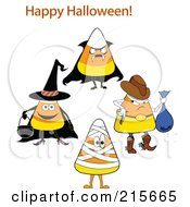 Royalty Free RF Clipart Illustration Of A Digital Collage Of Halloween Candy Corn In Costumes by erikalchan
