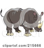 Royalty Free RF Clipart Illustration Of A Brown Rhinoceros