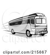 Royalty Free RF Clipart Illustration Of A Retro Black And White City Bus 3