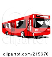 Royalty Free RF Clipart Illustration Of A Red City Bus