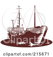 Royalty Free RF Clipart Illustration Of A Brown Retro Coastal Trader Ship