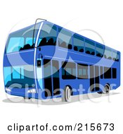 Royalty Free RF Clipart Illustration Of A Modern Blue Double Decker Bus