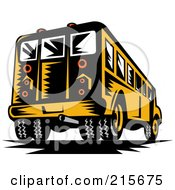 Royalty Free RF Clipart Illustration Of A Rear View Of A Woodcut School Bus by patrimonio