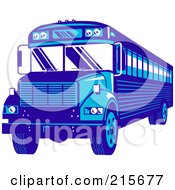 Royalty Free RF Clipart Illustration Of A Blue School Bus