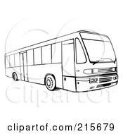 Royalty Free RF Clipart Illustration Of A Retro Black And White City Bus 4