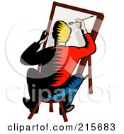 Royalty Free RF Clipart Illustration Of A Retro Artist Sitting On A Stool And Painting by patrimonio