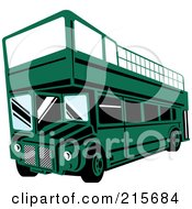 Royalty Free RF Clipart Illustration Of A Retro Green Double Decker Bus