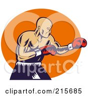 Royalty Free RF Clipart Illustration Of A Retro Boxer Throwing Jabs