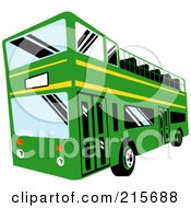 Royalty Free RF Clipart Illustration Of A Green And Yellow Double Decker Bus