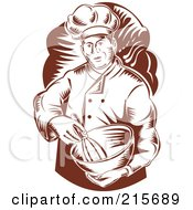 Royalty Free RF Clipart Illustration Of A Retro Woodcut Chef Mixing Ingredients