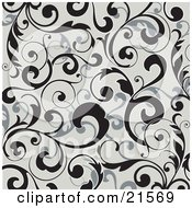 Clipart Illustration Of Elegant Black And Gray Leafy Vines Scrolling Over A Gray Background by OnFocusMedia