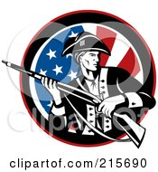 Royalty Free RF Clipart Illustration Of A Revolutionary War Soldier Holding A Rifle Over An American Flag Circle by patrimonio