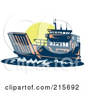 Royalty Free RF Clipart Illustration Of A Retro Boat At Sunset