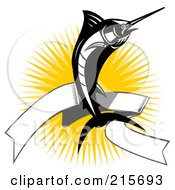 Royalty Free RF Clipart Illustration Of A Black And White Marlin Jumping Over A Blank Banner