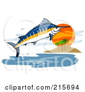Royalty Free RF Clipart Illustration Of A Blue Marlin Fish Jumping Near An Island by patrimonio