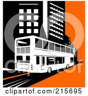 Royalty Free RF Clipart Illustration Of A Retro Double Decker Bus Driving Through A City