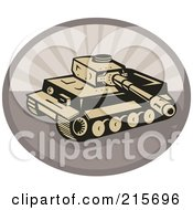 Royalty Free RF Clipart Illustration Of A Retro Battle Tank Over An Oval by patrimonio