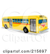 Royalty Free RF Clipart Illustration Of A Yellow City Bus 1