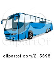 Royalty Free RF Clipart Illustration Of A Blue City Bus 2