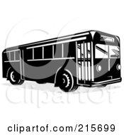 Retro Black And White City Bus 1