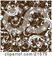 Floral Background Of White Flowers And Elegant Vines Over Brown