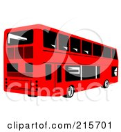 Royalty Free RF Clipart Illustration Of A Retro Red Double Decker Bus 1