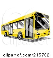 Royalty Free RF Clipart Illustration Of A Yellow City Bus 2