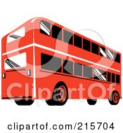 Royalty Free RF Clipart Illustration Of A Retro Red Double Decker Bus 2