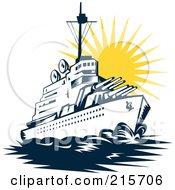 Royalty Free RF Clipart Illustration Of A Retro Battleship At Sunset