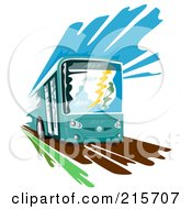 Royalty Free RF Clipart Illustration Of A City Bus In Operation