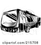 Retro Black And White City Bus 2