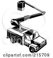 Royalty Free RF Clipart Illustration Of A Retro Black And White Bucket Utility Truck by patrimonio
