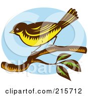 Royalty Free RF Clipart Illustration Of A Retro New Zealand Fantail Bird Rhipidura Fuliginosa Perched On A Branch