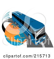 Royalty Free RF Clipart Illustration Of A Modern Blue Public Bus Driving Around A Globe 1